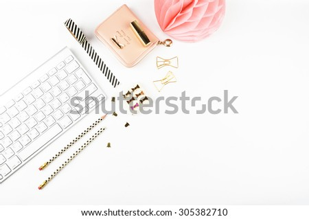 Table view office items, white background mock up, woman desk. Flat lay. - stock photo
