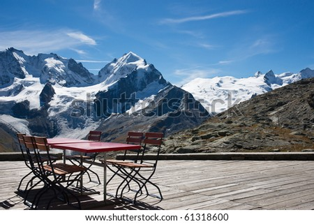 Table with a view - stock photo