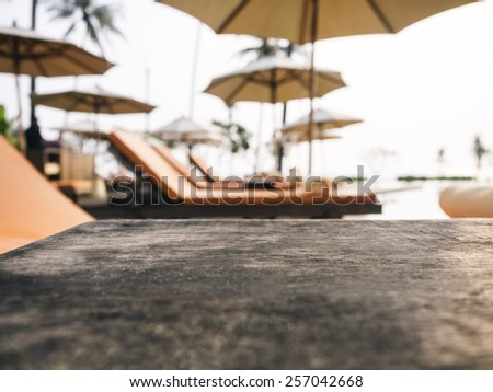 Table with Beach chairs Summer Holiday Background - stock photo