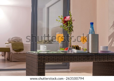 table with breakfast in a luxury room of a tourist resort