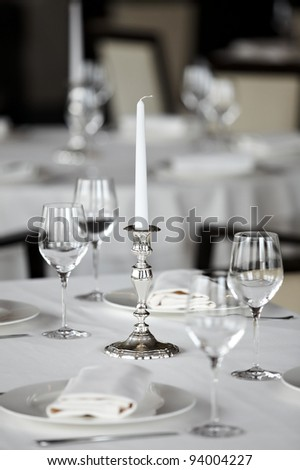 Table with candlestick at restaurant