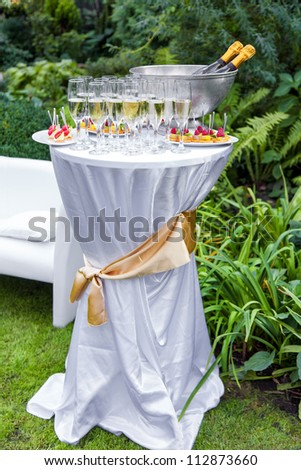 Table with champagne and appetizers at a wedding outdoors - stock photo