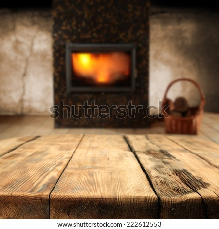 table with fireplace and free space