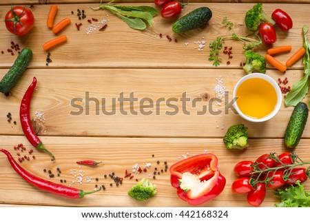 Table with fresh vegetables, tomato, pepper, cucumber, carrot, space for text. - stock photo