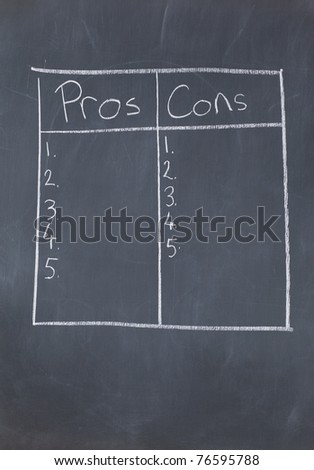Table with numbers confronting pros and cons on a blackboard - stock photo