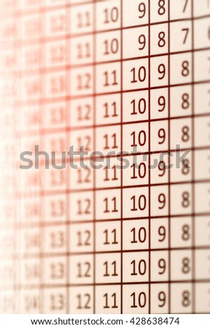 Table with numbers in the cells. Toned