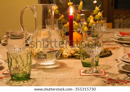 Table with red candle
