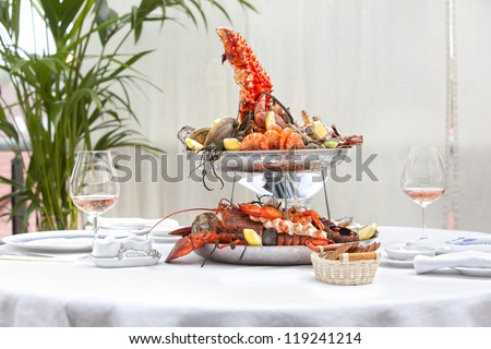 table with seafood - stock photo
