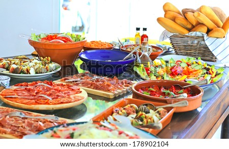 table with variety of fresh food - stock photo