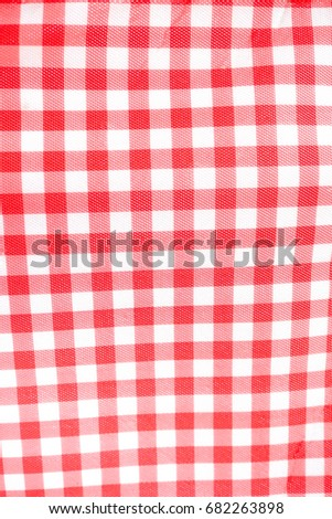 Tablecloth. Classic Red And White Checkered Tablecloth Made From Plastic  Using Color Screen Technique.