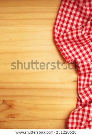 tablecloth over wooden table with copy space - stock photo