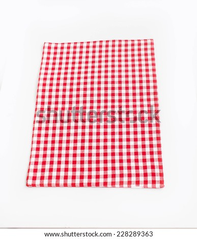 Tablecloth white red squares on white background