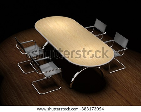Tables and chairs are on laminate floor. - stock photo