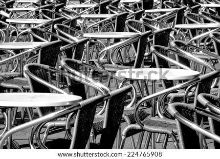 Tables and Chairs, black and white