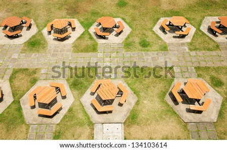 Tables and chairs seen from above - stock photo
