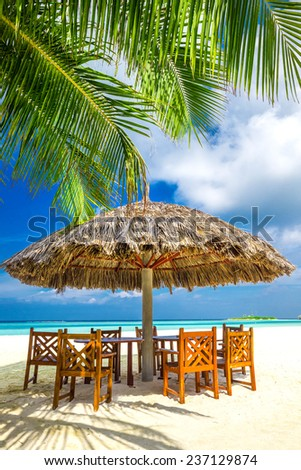 Tables, chairs and palms at tropical beach restaurant - stock photo