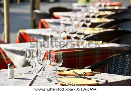 Tables in the restaurant - stock photo