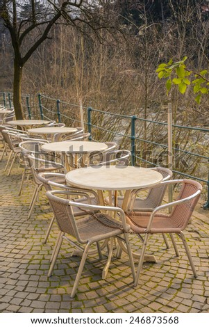 Tables of street cafes - stock photo