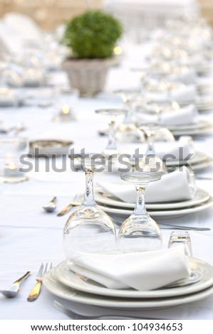 tables prepared for a celebration or an event