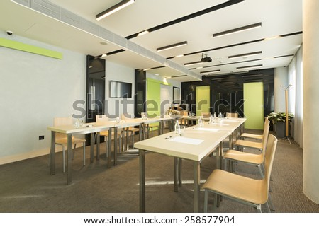 Tables prepared for seminar - stock photo