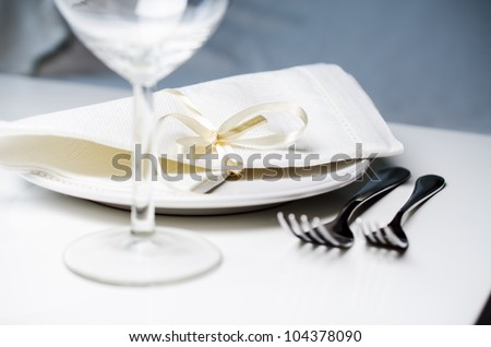 Tables set for meal close up - stock photo