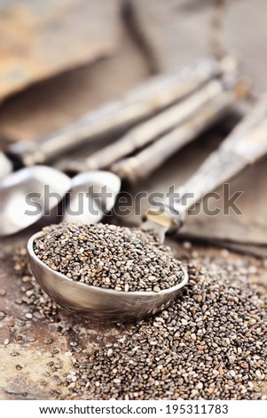 Tablespoon of healthy chia seeds with selective focus and extreme shallow depth of field.