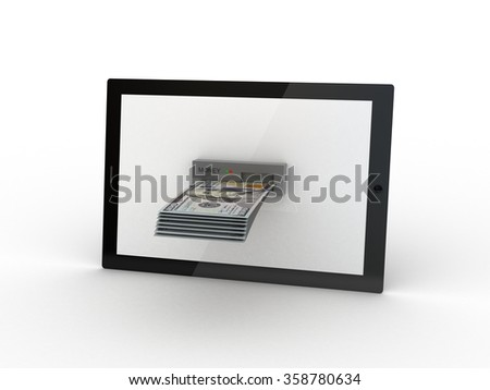 Tablet and cash money - stock photo