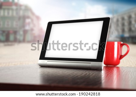 tablet and city space  - stock photo