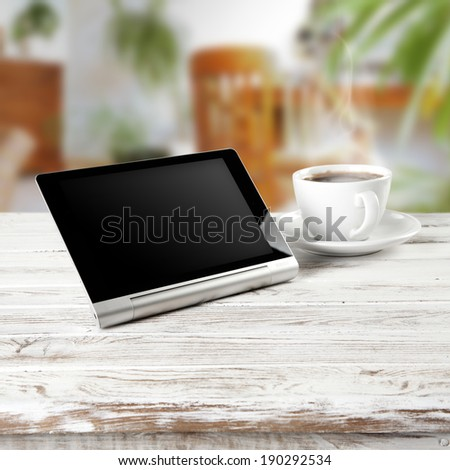 tablet and coffee time