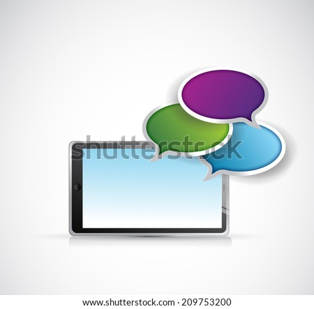 tablet and communication illustration design over a white background