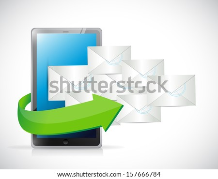 tablet and emails illustration design over a white background