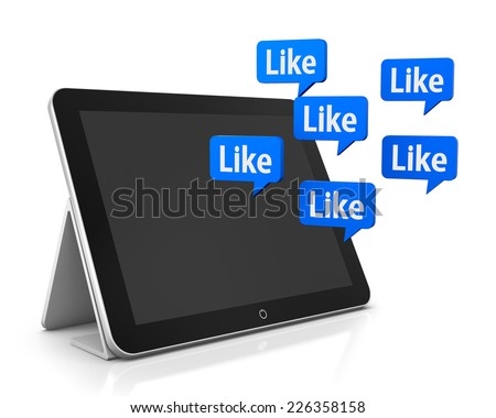 tablet and like 3d render facebook twitter  - stock photo
