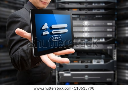 Tablet and password security for login - stock photo