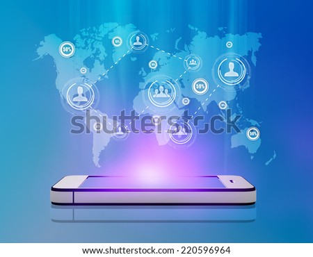 Tablet and people icons on map, symbolizing the demographics of the population - stock photo
