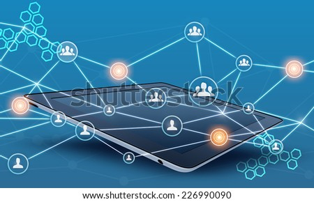tablet and people teamwork network connect line - stock photo