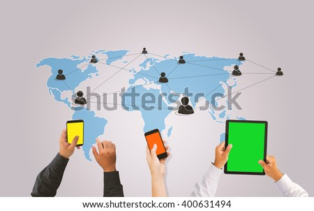 Tablet and smartphone connect Social media.social network concept.
