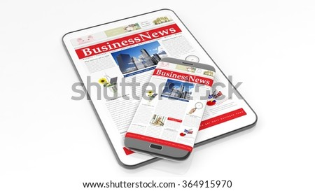 Tablet and smartphone with Business News website on screen,isolated on white background. - stock photo