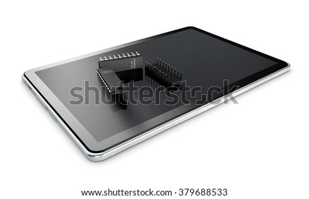 Tablet and tansistor on a white background