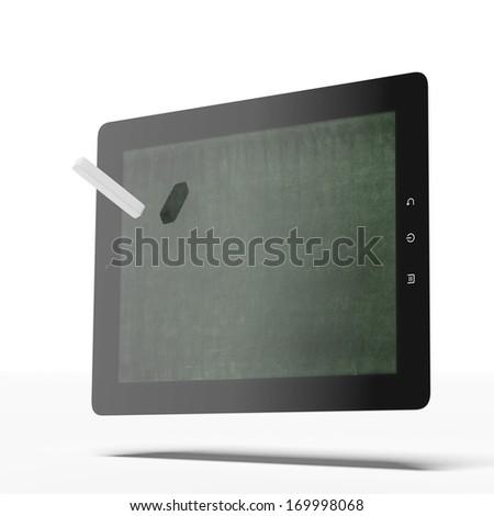 Tablet as blackboard - stock photo