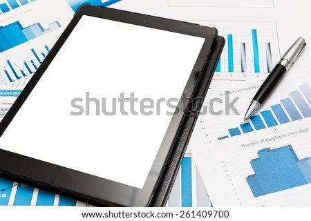 Tablet, business, graph. - stock photo
