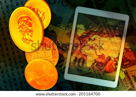 Tablet calculator, Euro coins and us dollar banknote background. Finance concept. - stock photo