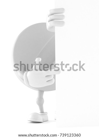 Tablet character isolated on white background. 3d illustration