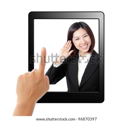 Tablet computer and business secretary listen in screen.  Isolated on white background. concept for voice-activated in tablet pc - stock photo