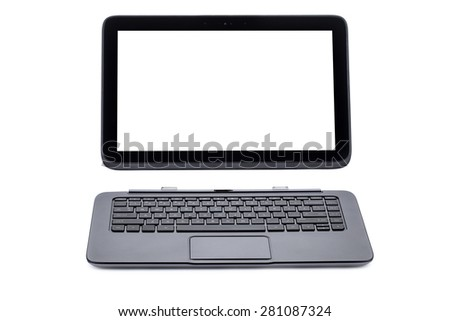 Tablet computer and keyboard isolated on white