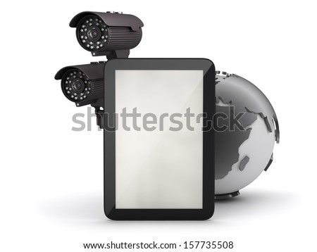 Tablet computer and surveillance camera - stock photo