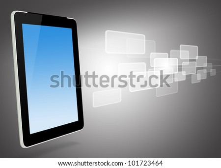 tablet computer and virtual icons - stock photo