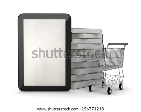 Tablet computer, books and shopping cart - stock photo