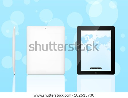 Tablet computer (front, back and side)