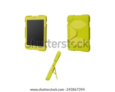 Tablet computer in a military case. light green - stock photo