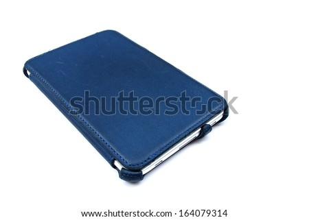 Tablet computer in blue case2 - stock photo